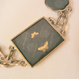 Summer sale ends Monday 8/29 Vintage Japan early 1900's brass butterfly damascene link Bracelet