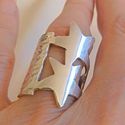 Summer saleends Monday 8/29  Fantastic sterling double stars wide band ring size 6 1/2