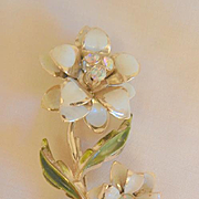 Summer sale ends Monday 8/29 Gorgeous large white green enamel Aurora borealis rhinestone flower Brooch