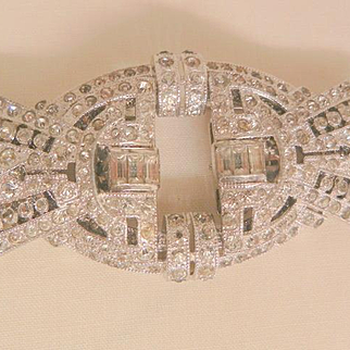 Fall sale arrivals Breathtaking Art Deco three piece rhinestone Duette Two clips and Brooch
