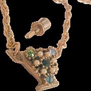 Fall sale arrivals Vintage rhinestone perfume bottle Necklace