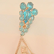 Stunning Rare Art Deco Aqua and clear rhinestone chatelaine Perfume Bottle Brooch