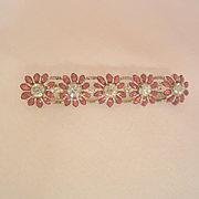 Gorgeous Art Deco clear rhinestone glass red stone bar pin Brooch