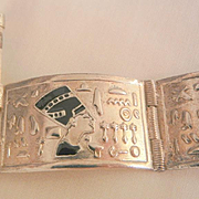 Fall super sale Vintage rare Egyptian Nefertiti Hieroglyphic Pin close Panel Bracelet