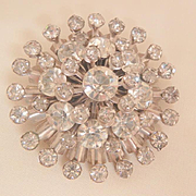 Fantastic Art Deco dome layered rhinestone Brooch