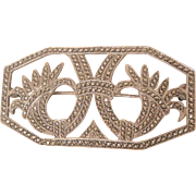 Stunning sterling Marcasite double Tulip Brooch Art Nouveau style