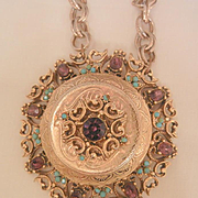 Bold rare Florenza Large Locket Purple Turquoise Color stones Necklace