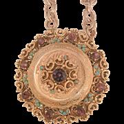 Bold rare Florenza Large Locket Purple Turquoise Color stones Necklace