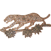 Fantastic Sterling Marcasite Rhinestone Walking Panther leopard On Branch Brooch