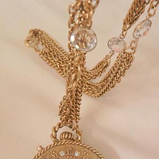 Rare gorgeous Faux watch shaped bee rhinestone Locket Crystal glass triple link Chain
