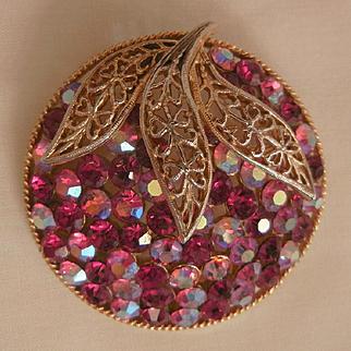 Gorgeous Vintage domed red pink rhinestone Brooch