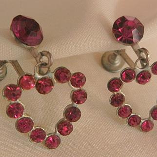 Vintage Red Czech rhinestone heart shaped Earrings Circa 20's
