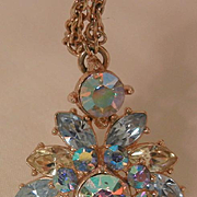 Rare stunning Trifari Sparkling blues lemon colored with aurora borealis rhinestone Necklace
