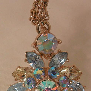 Rare stunning Trifari Sparkling blues lemon colored with aurora borealis rhinestone Necklace