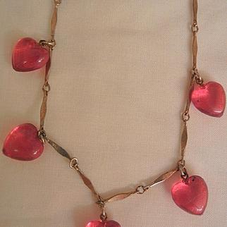 Lovely vintage dangling transparent Red Hearts Necklace