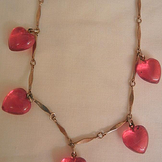 Lovely vintage dangling transparent Red Hearts Necklace