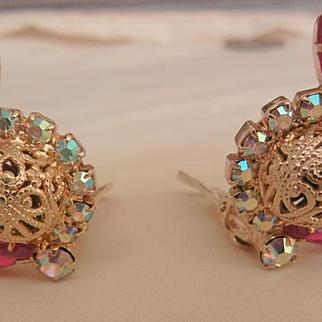 Gorgeous Juliana Red Navettes Agoura Borealis rhinestone specialty button Clip Earrings