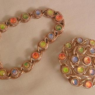 Stunning Vintage Moonlites Rhinestone Bracelet Brooch Set Sarah Cov