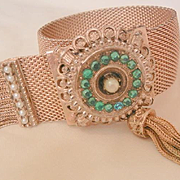 Early 1900's Bold Aqua rhinestone seed bead mesh Tassel hook latch Bracelet