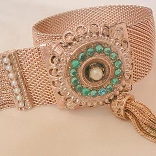 Early 1900's Bold Aqua rhinestone seed bead mesh Tassel hook latch Bracelet