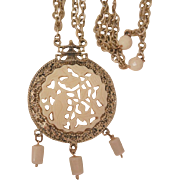 Vintage rare Asian theme large resin craved bird double chain bead drop Necklace