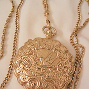 Rare large Goldette Lithe bird locket triple chain Necklace