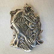 Beautiful Sterling small Art Nouveau style woman picking flowers Brooch