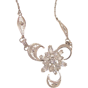 Gorgeous Circa 40's Jour crystal rhinestone Am Lee Sterling Necklace
