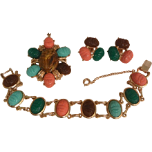 Tara Fifth Avenue Gorgeous Egyptian revival scarab set Circa 60's Bracelet Pendent Earrings Excellent condition