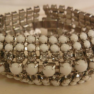 Beautiful Bold Seven row Milk glass Rhinestone Vintage Bracelet