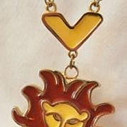 Vintage large poured glass enamel Lion Necklace