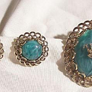 Outstanding Vintage Sterling malachite royal crown Necklace Earring Set