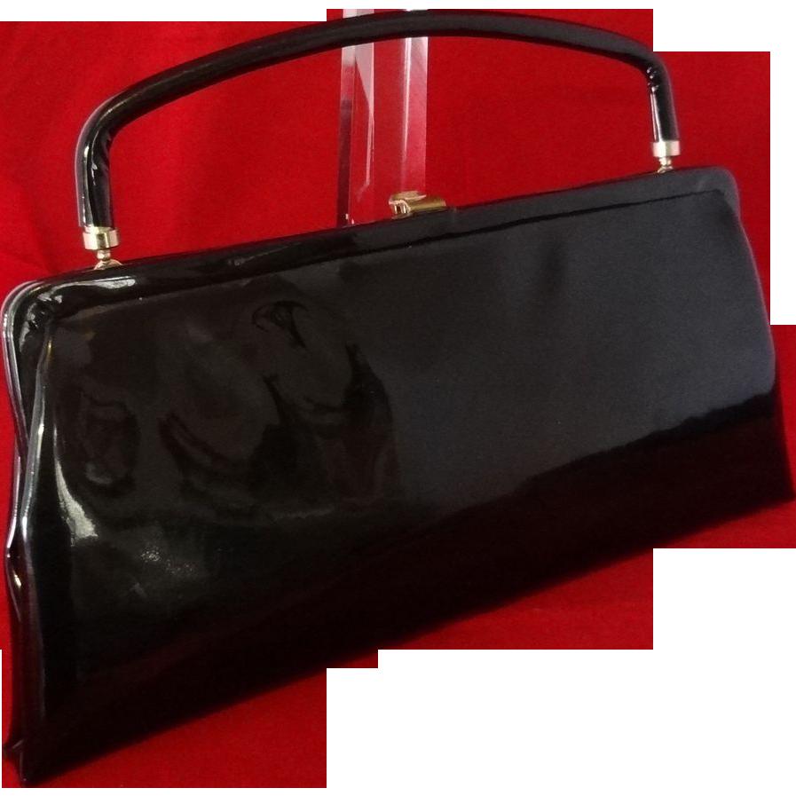 Shiny Black Vinyl Convertible Clutch Handbag by After Five