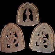 Three Vintage Sad Iron Trivets by Enterprise Manufacturing Company