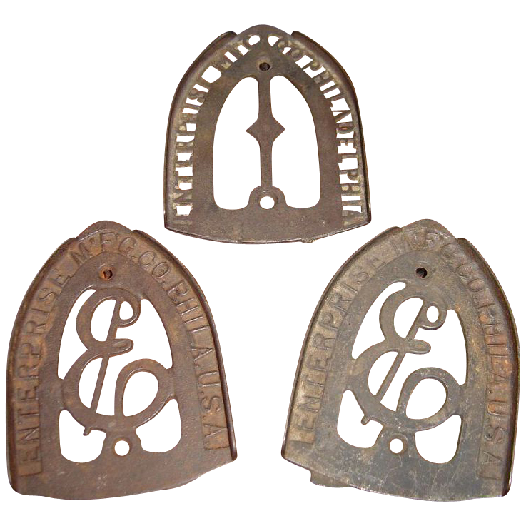 Three Vintage Sad Iron Trivets by Enterprise Manufacturing Company