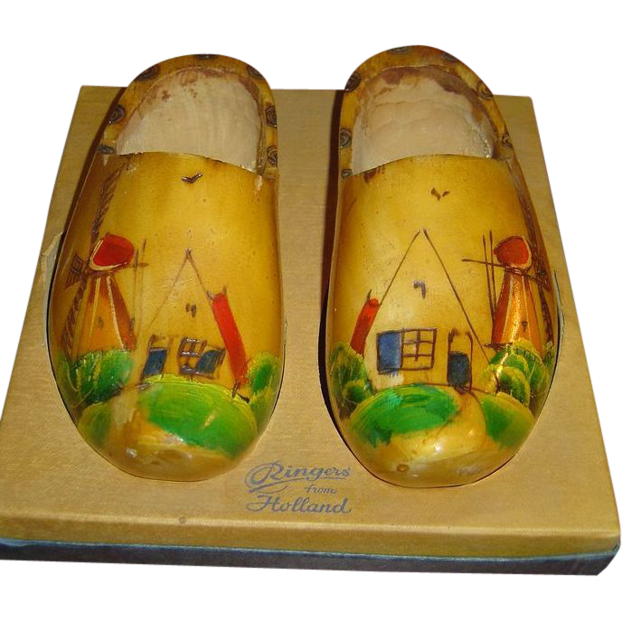 Vintage Hand Painted Wooden Shoes Candy Containers from Holland