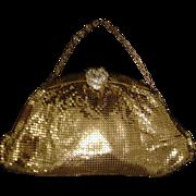 Whiting & Davis Goldtone Mesh Evening Bag with Rhinestone Clasp