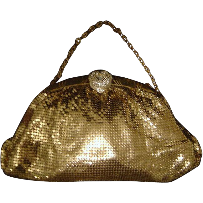 Whiting & Davis Goldtone Mesh Evening Bag with Rhinestone Clasp