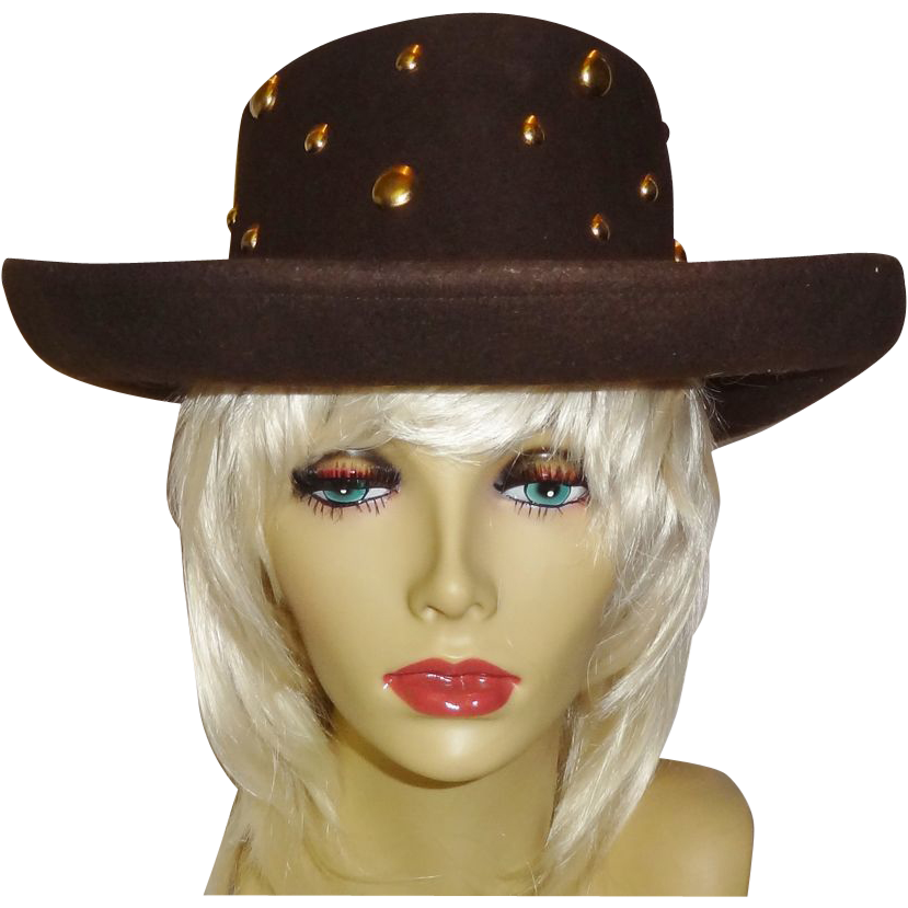 Vintage Studded Wool Felt Hat by Betmar
