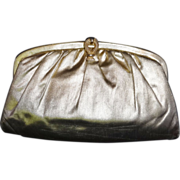 Sleek Vintage Gold Lame` Convertible Clutch Evening Bag Purse