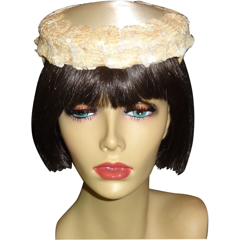 Vintage Off-White Sequined Satin Cocktail Wedding Hat