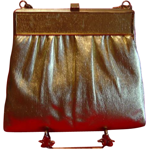Gold Lame Handbag Evening Bag by HL