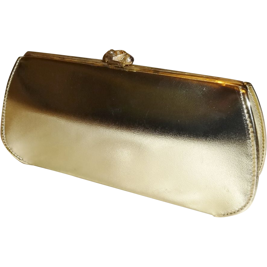 Metallic Gold Convertible Clutch Evening Handbag Purse