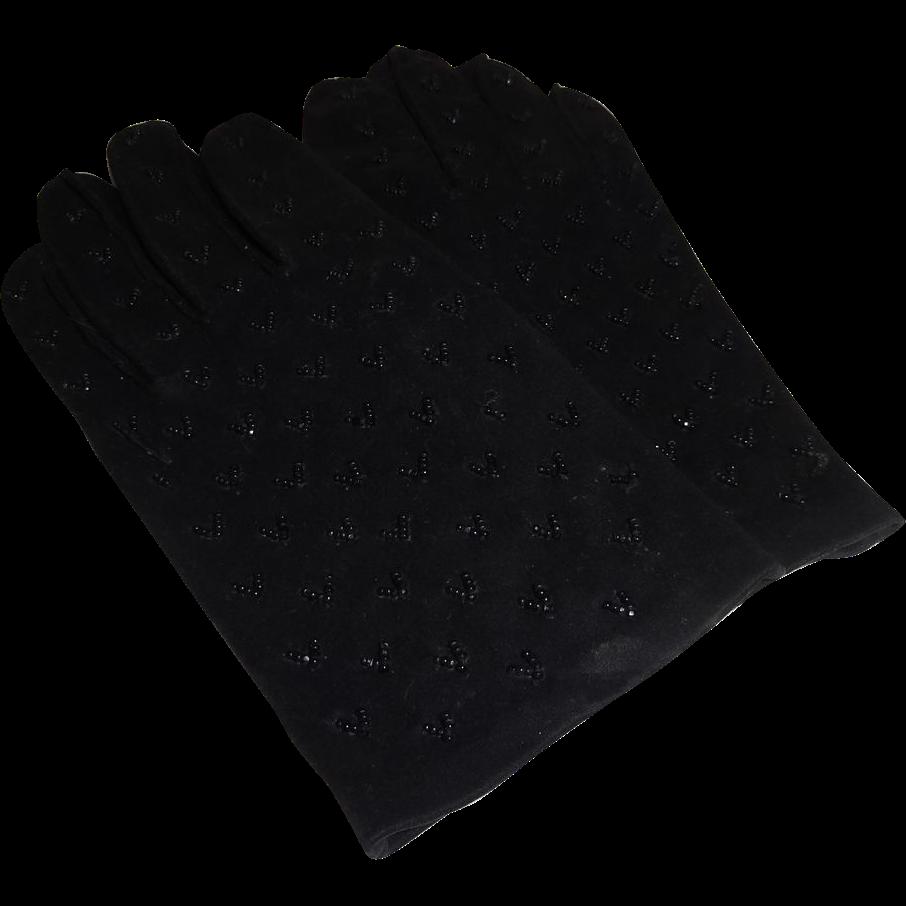 Beautiful Black Beaded Girl's Gloves