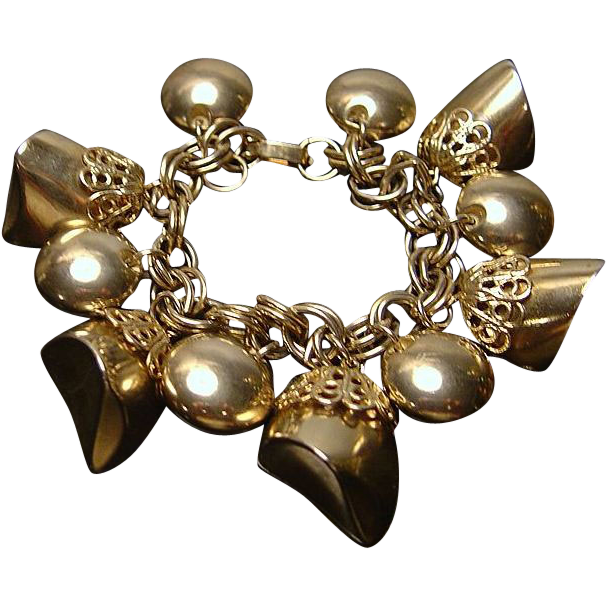 Bold 1960's Goldtone Chunky Charm Bracelet