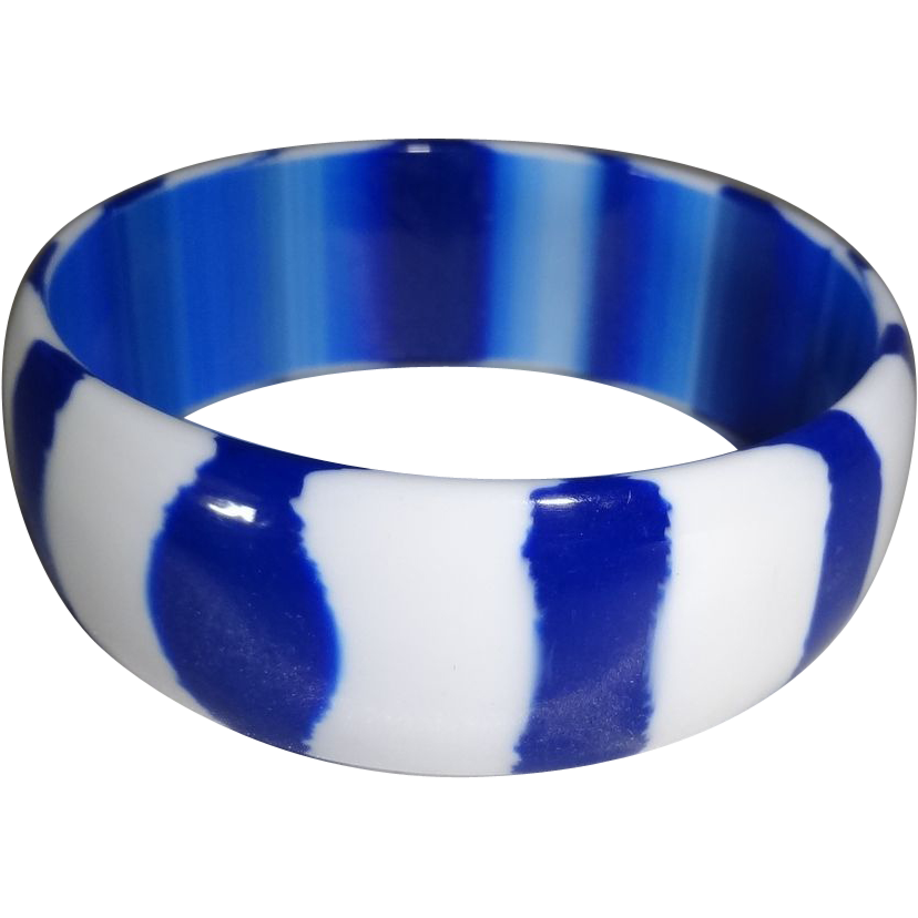 Royal Blue and White Striped Lucite Bangle Bracelet