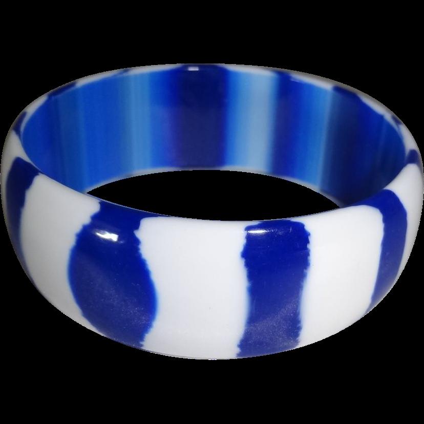 Royal Blue and White Striped Lucite Bangle Bracelet