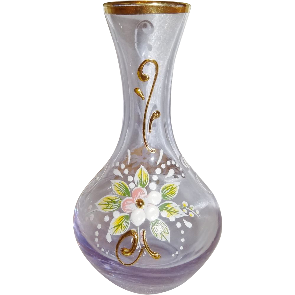 Vintage Miniature Enameled and Gilt Bohemian Glass Vase