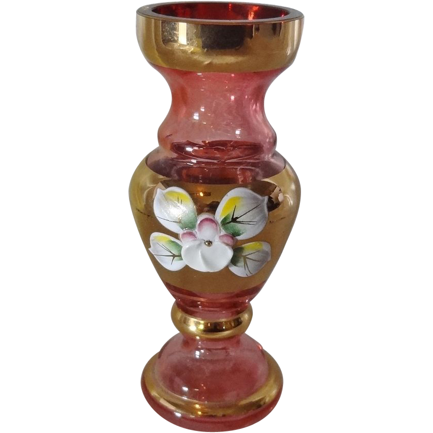 Miniature Hand Made Bohemian Glass Vase with Original Sticker