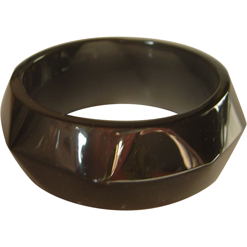 Vintage Faceted Smokey Lucite Bangle Bracelet
